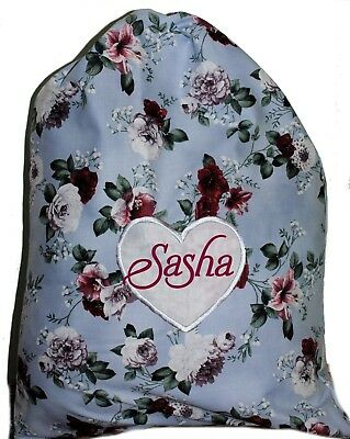 Personalised Drawstring Library Bag - Vintage Flowers Classic - First name FREE