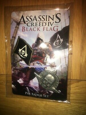 Assassins creed black flag rare promo launch pin badges , new sealed rare