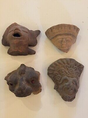 Authentic Four Large Pre-columbian Terracotta Head Fragments Jaina Oaxaca