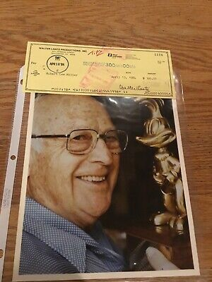 Check signed by WALTER LANTZ + Picture COA