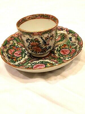 Antique Chinese Export Porcelain Famille Rose Demitasse Cup and Saucer Set