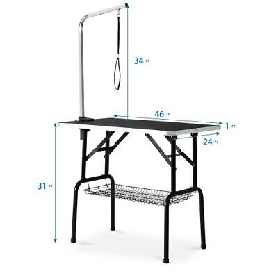 46'' Heavy Duty Fordable Pet Dog Cat Profession Grooming Table Adjustable Arm