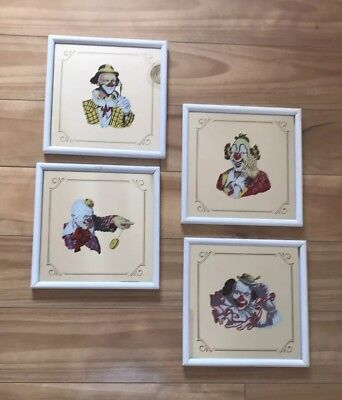 "Clown Painted Lithograp On Mirror 8X8"" Holding Vintage Glasses By Arthur Sarnoff"