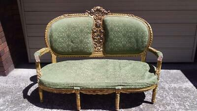 Antique French Louis Xv Style Green Upholstered Gilded Salon Sofa Settee Lounge
