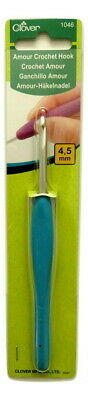 Clover Amour Crochet Hook Ergonomic Grip - 4.5 mm - 14 cm length - Aluminium