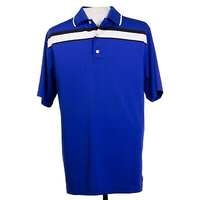 FootJoy Prodry FJ Mens M Blue Striped Golf Polo Shirt