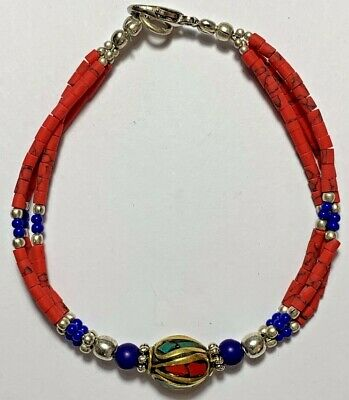 STUNNING-ROMAN AND MEDIEVAL BRACELET (1 gold-plated, red, lapis lazuli BEADS)