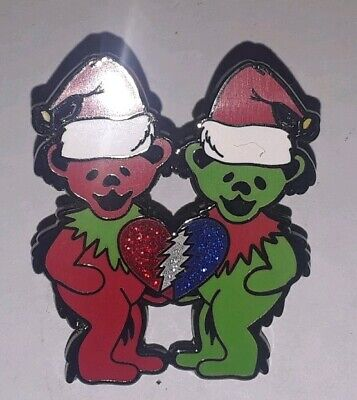 Christmas Dancing Bears Santa Hat THEY LOVE EACH OTHER Pin - Grateful Dead & Co