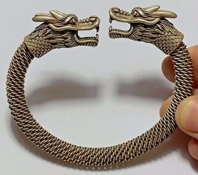 FANTASTIC MEDIEVAL SILVER BRACELET TWO DRAGON HEAD VERY NICE 110.3gr 95.0mm