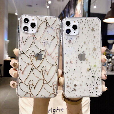 For iPhone 11 Pro Max XR XS X 8 7 Plus Plating Heart Star Clear Soft Case Cover