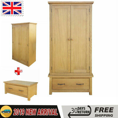 Wood Wardrobe with One Large Drawer Storage Cabinet Bedroom Furniture Solid Oak