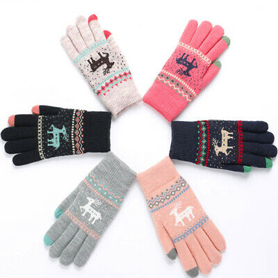 Women Touch Screen Knitted Gloves Mittens Thicken Warm Full Finger Mittens 17
