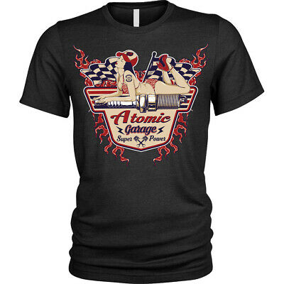 pin up garage we can fix anything 60s vintage muscle  mashup mens tshirt tee dtg