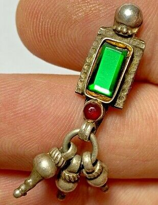 LATE MEDIEVAL ISLAMIC OTTOMANS SILVER PENDANT - VERY RARE 2 STONES 4.2gr 48mm