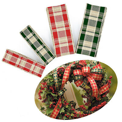 Merry Christmas Ribbon Craft Red Green Christmas Ribbons Grid Gift Wrapping #HX