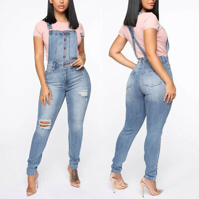 Womens Denim Jeans Dungarees Ladies Ripped Slim Fit Jumpsuit Overalls Trousers