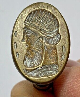 LATE MEDIEVAL BRONZE RING - SEAL HEAD OF KING SASANIAN 10.1gr 28mm (inner 19mm)