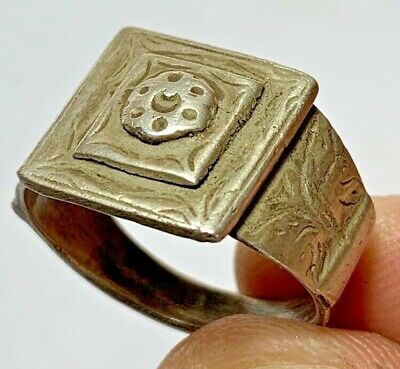 LATE MEDIEVAL SILVER RING WITH INTAGLIO VERY RARE 6.4gr 23mm (inner 20mm)