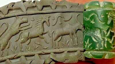 INTACT RARE NEAR EASTERN CYLINDER SEAL - ANIMALS PENDANT 16.7gr 30mm