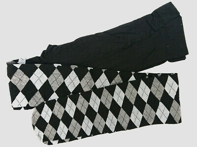 Argyle Black + Grey Diamond Patterned Autumn Winter Opaque 40D Tights One Size
