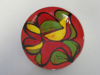 "Retro 1960s/1970s Poole Pottery Delphis Red, Yellow, Green & Black 8""  Plate"