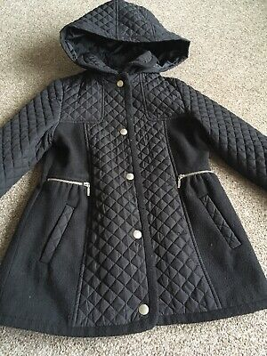Girls Black Quilted Hooded Winter Coat Jacket Age 5-6 Years From George