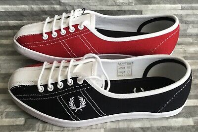 Fred Perry Womens Aubrey Canvas Bowling Shoes Navy UK Size 3.5 RRP £ 49.99