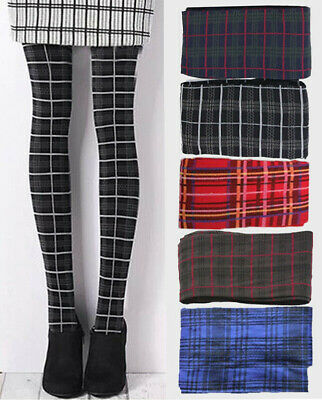 Plaid Tartan Patterned Autumn Winter Opaque 40D Tights One Size 5 Colours