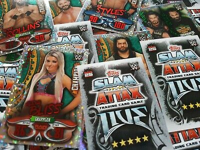 Topps WWE Slam Attax Live Edition Lot of 20 single Cards Pick you own Champion