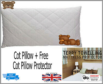 *Special Offer* Baby Toddler Cot Anti-Allergy Pillow +Free Terry Towel Protector