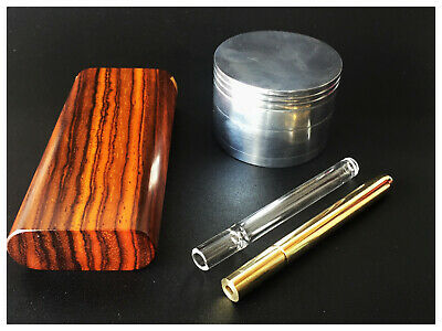 Dugout Gift Pack- Cocobolo Wood Dugout-Glass & Brass One Hitters & Herb Grinder