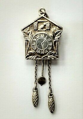 Unique 800 Silver Detailed German Cuckoo Clock Charm with Moving Chain 800