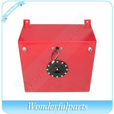 15.5 GALLON RED COATED ALUMINUM RACING//DRIFT FUEL CELL GAS TANK+LEVEL SENDER