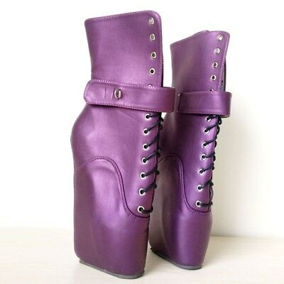 PURPLE LOCKING LEATHER Ankle High PONY Ballet Boots, high heals,sexy boot,corset