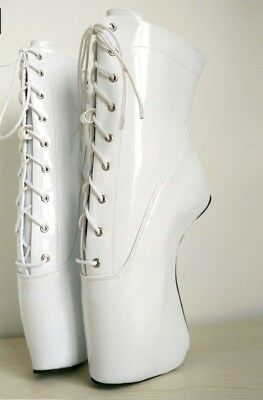 WHITE PVC Ankle High PONY Ballet Boots with STRAPS, high heals, sexy boot, 18CMS
