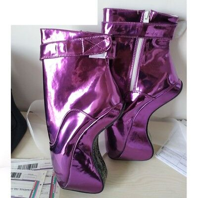 PURPLE PVC Ankle High PONY Ballet Boots, high heals,sexy boot,corset