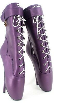 PURPLE LETHER Ankle High Ballet Boots, high heals, Pony boots, sexy boot, corset