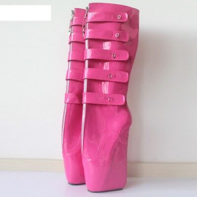 PINK PVC KNEE High Ballet PONY Boots LOCKING, high heals, sexy boot 18 CMS