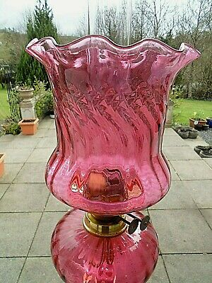 Beautiful British Full Cranberry Crystal Glass Duplex Oil Lamp Shade.