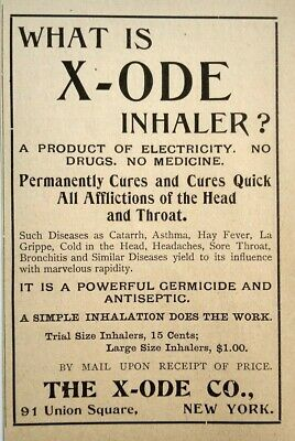 1896 X-Ode Asbestos Inhaler Quack Medical Device Vintage Print Advertising