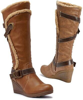 Womens Branded Tan Brown Strappy Knee High Wedge Heel Boots Comfy Winter Wedges