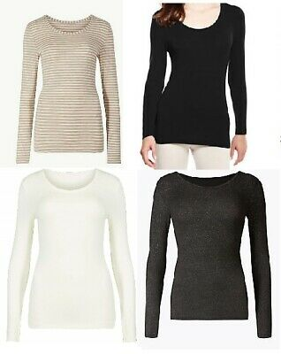 Womens Ladies M&S Heatgen Thermal Top Long Sleeve Base Layer Ski Winter Size