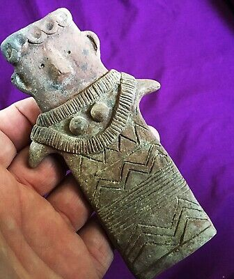 Circa 2300-1600Bce Ancient Cypriot Bronze Age Terracotta Redware 'Plank' Idol
