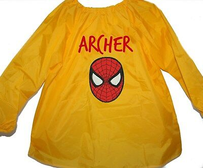 Personalised Art Smock  / Paint Shirt - Spiderman - First name FREE