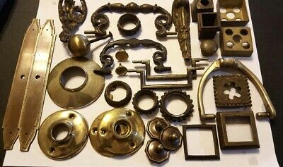 Antique Vintage All Brass Lot Door & Furniture Handles Knocker Misc Hardware +