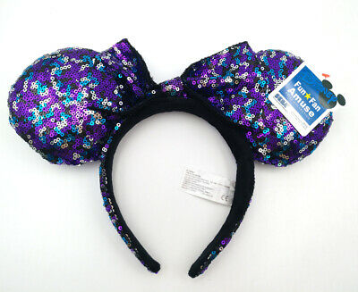 Disney Parks Cute Minnie Mouse Ears Mickey Party Purple Bow Sequins Cos Headband