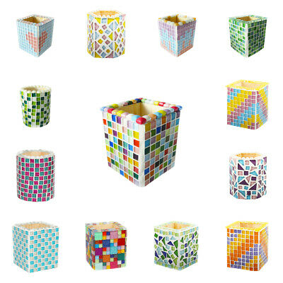 Colored Mosaic Tiles Gift Pieces Set DIY Pen Holder Brush Pot Making Accessory