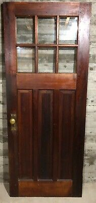 Antique Craftsman Wood Exterior French Entry Door /w 6 Pane Glass 32x80