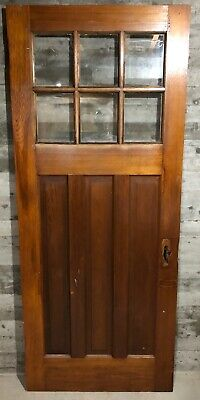 Antique Craftsman Wood Exterior French Entry Door /w 6 Pane Glass 34x82