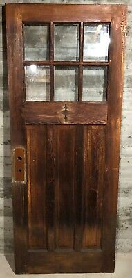 Antique Craftsman Wood Exterior French Entry Door /w 6 Pane Glass 32x79
